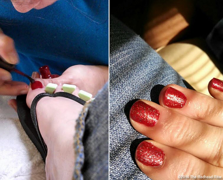 toenails and fingernails painted red
