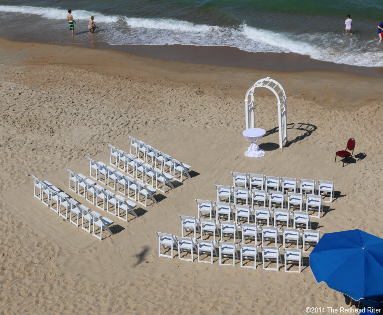 1 setting up Outer Banks Beach Wedding