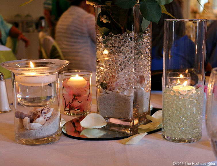 19 candle centerpiece Outer Banks Beach Wedding reception 1