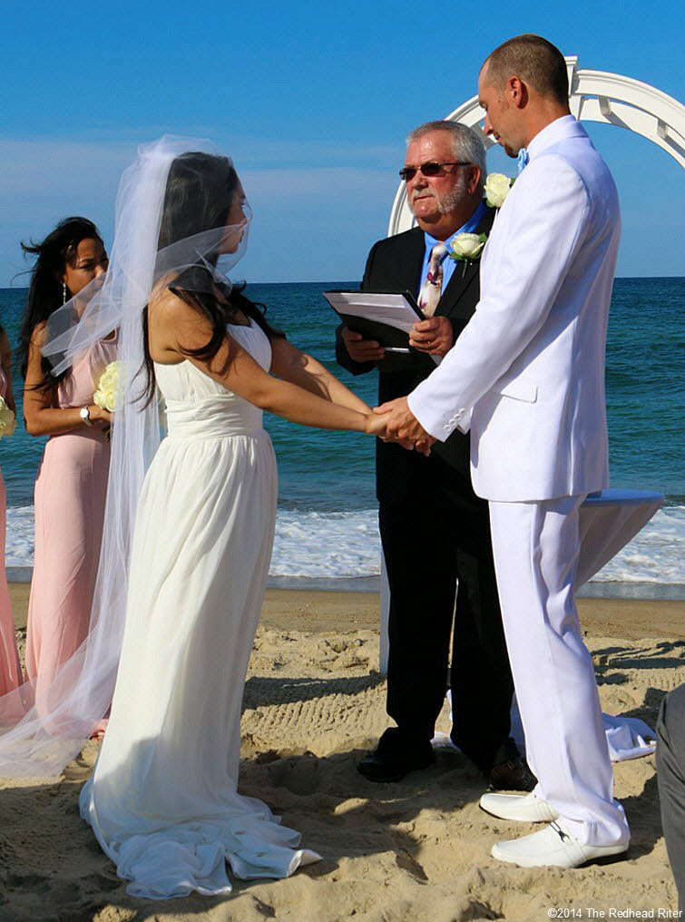 4 holding hands Outer Banks Beach Wedding 1