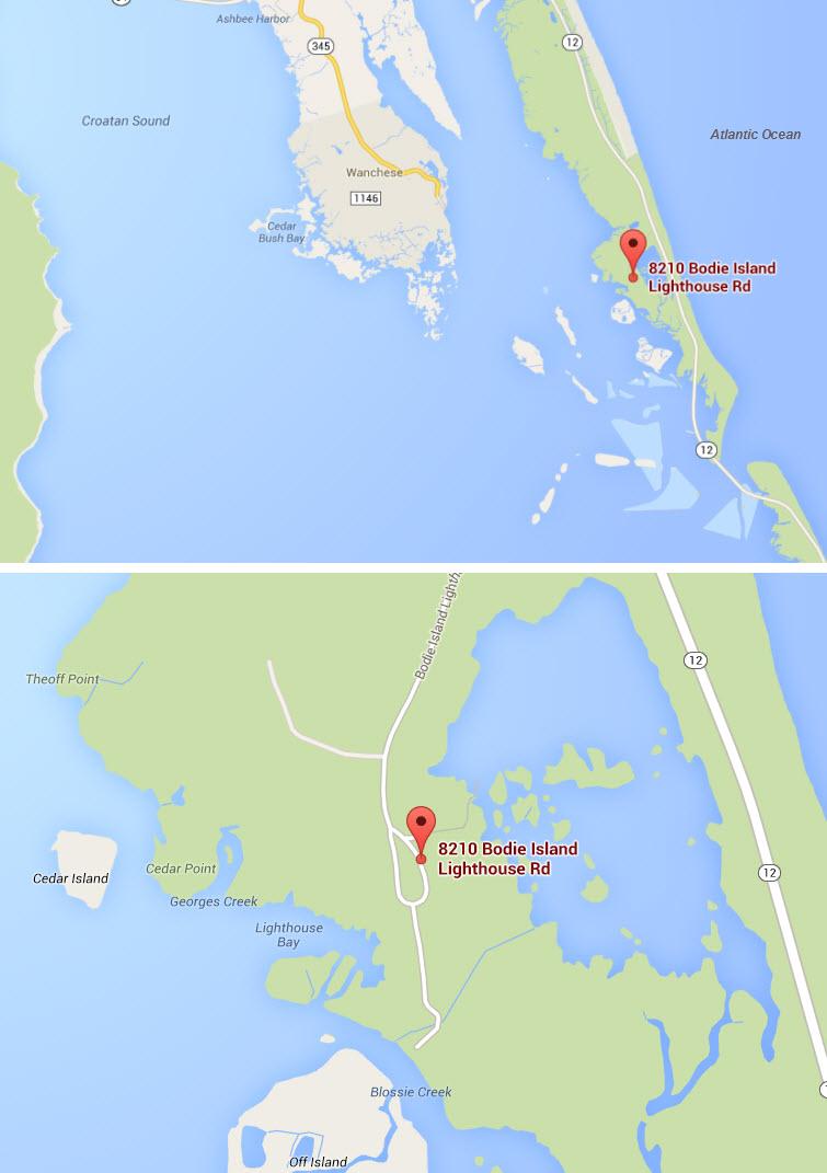 Google Map Bodie Island Lighthouse, Nags Head, North Carolina