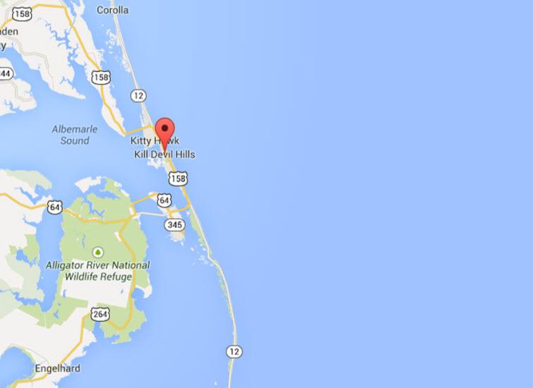 Kill Devil Hills, Outer Banks, NC map