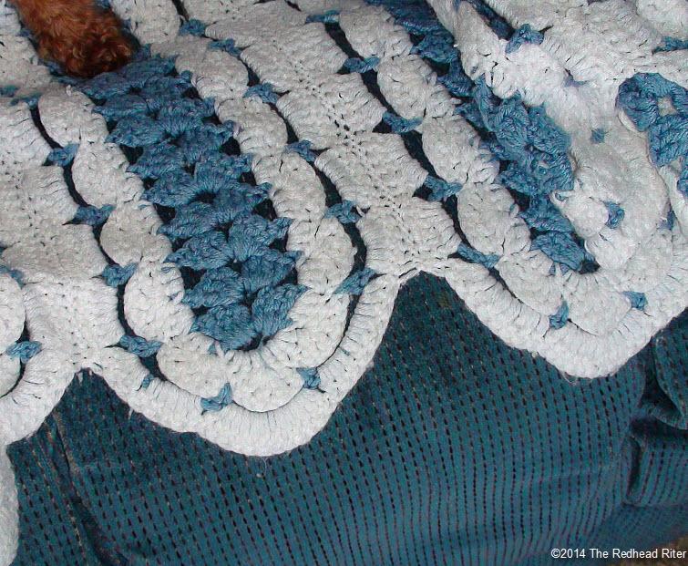 crocheted afghan blue white edge