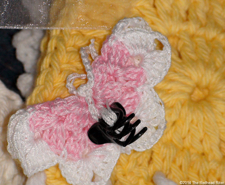 crocheted afghan butterfly clip