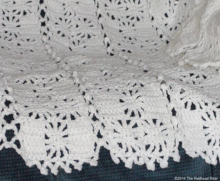 crocheted afghan cream lace appearance edge