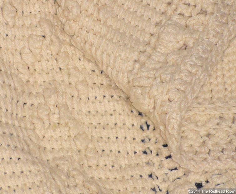 crocheted afghan cream popcorn stitch closeup