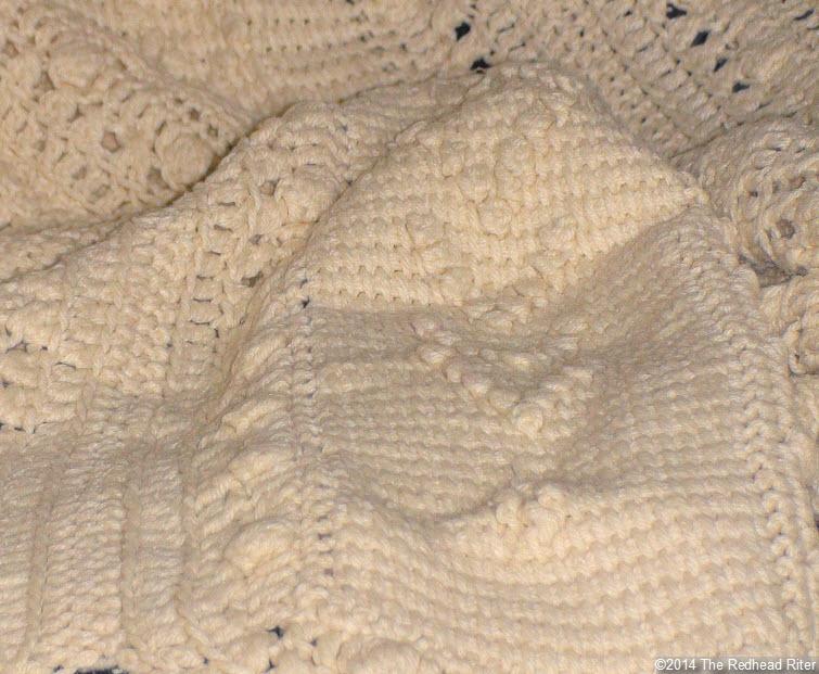 crocheted afghan cream popcorn stitch