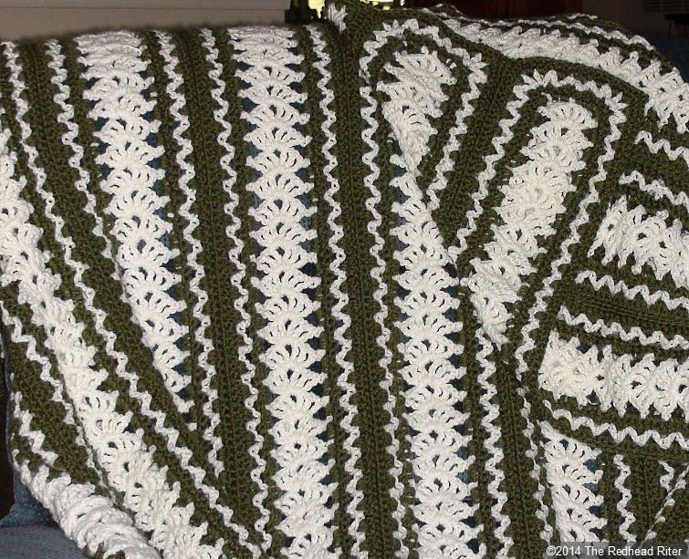 crocheted afghan green cream