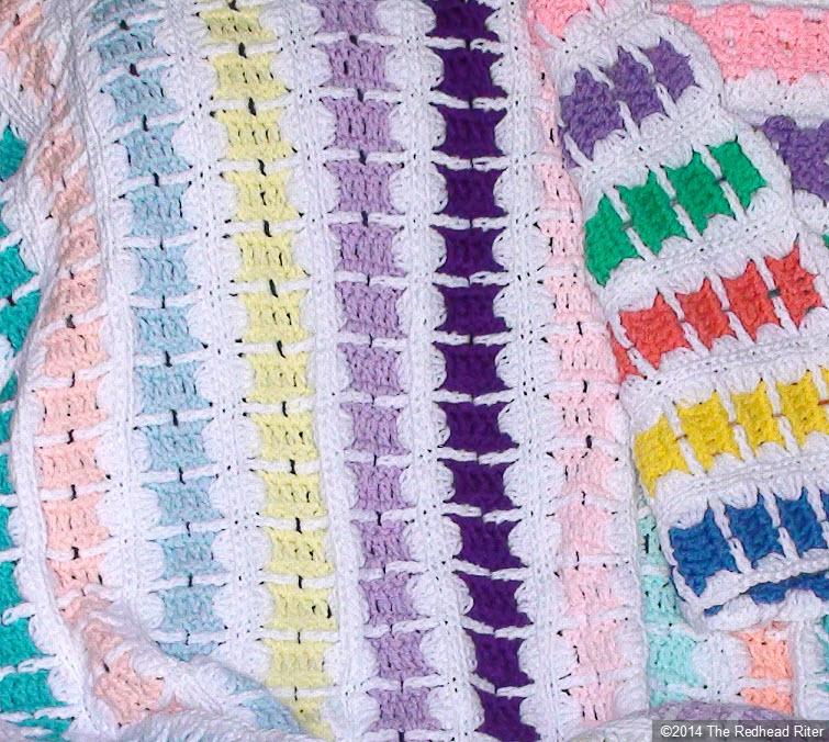 crocheted afghan multi color strip blocks