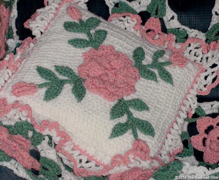 crocheted afghan open pillow