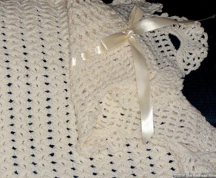 crocheted afghan ribbon edge cream