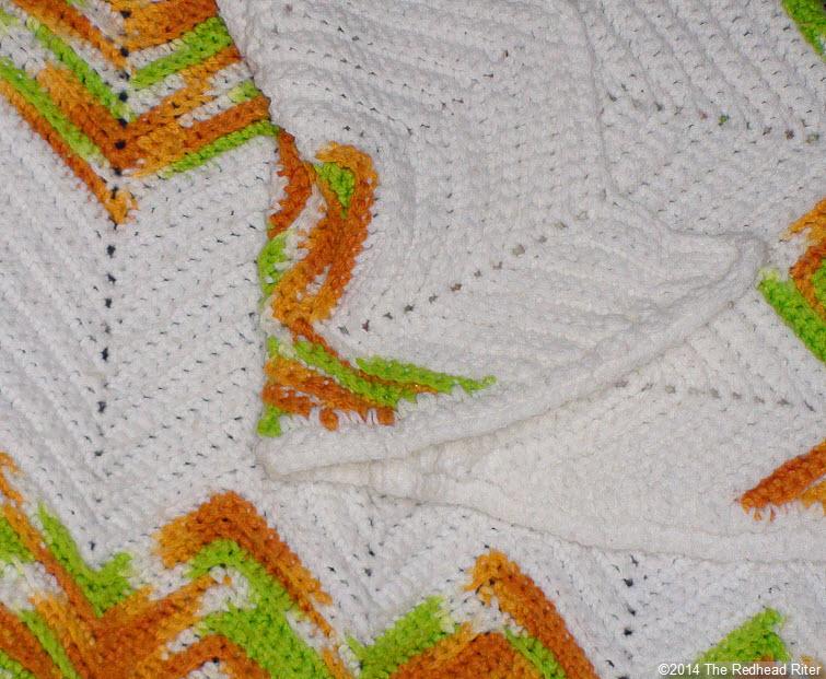 crocheted afghan ripple green brown close