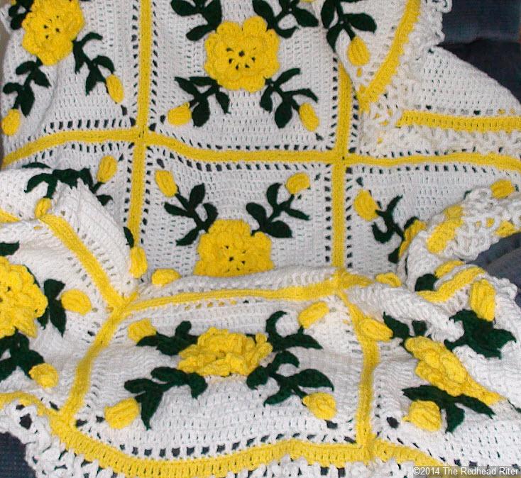 crocheted afghan yellow flowers