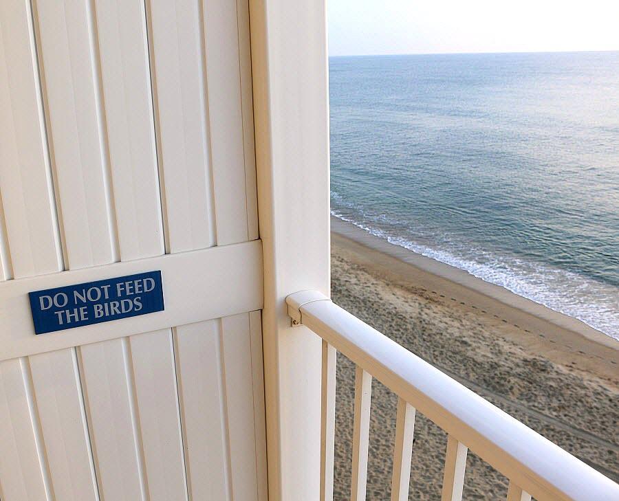 do not feed the birds sign hotel balcony ocean waves on beach
