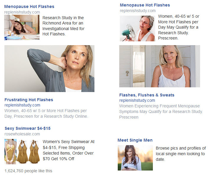 menopause single men facebook ads privacy issues
