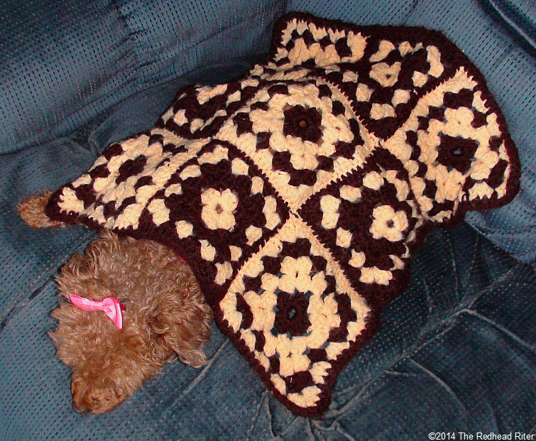 my first crocheting crocheted afghan for dog granny squares