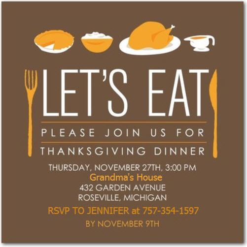 grandmas invitation for thanksgiving dinner