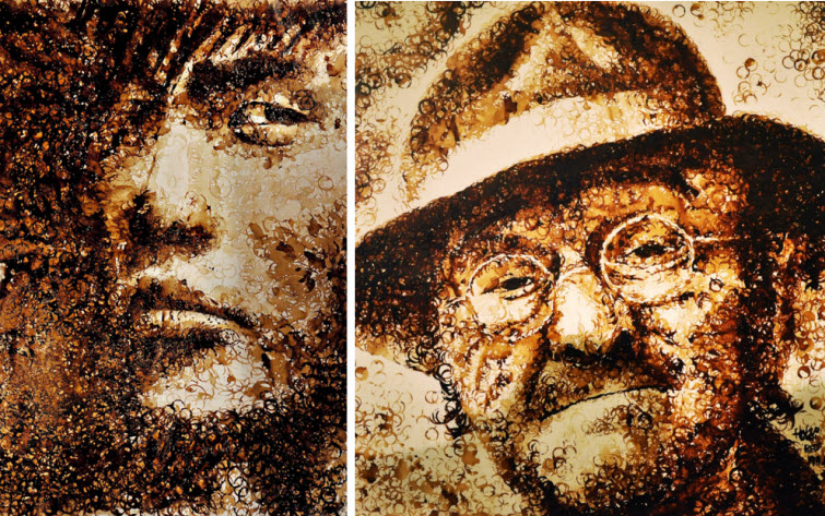 coffee stains Artist Red Hong Yi Uses Unusual Mediums Of Feathers, Food, Sticks, Socks, Coffee And Melted Candles