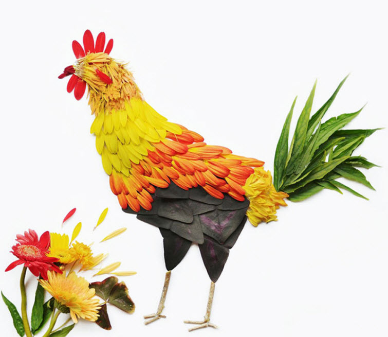 flower chicken bird Artist Red Hong Yi Uses Unusual Mediums Of Feathers, Food, Sticks, Socks, Coffee And Melted Candles