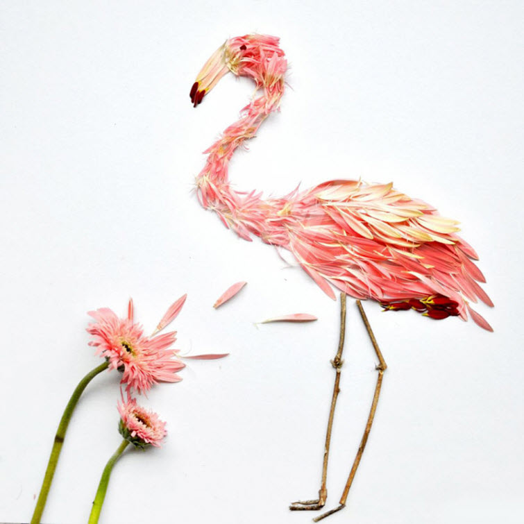 flower flamingo bird Artist Red Hong Yi Uses Unusual Mediums Of Feathers, Food, Sticks, Socks, Coffee And Melted Candles