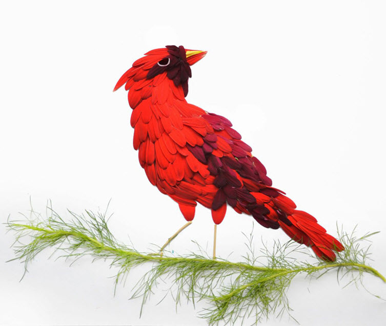 flower red bird Artist Red Hong Yi Uses Unusual Mediums Of Feathers, Food, Sticks, Socks, Coffee And Melted Candles