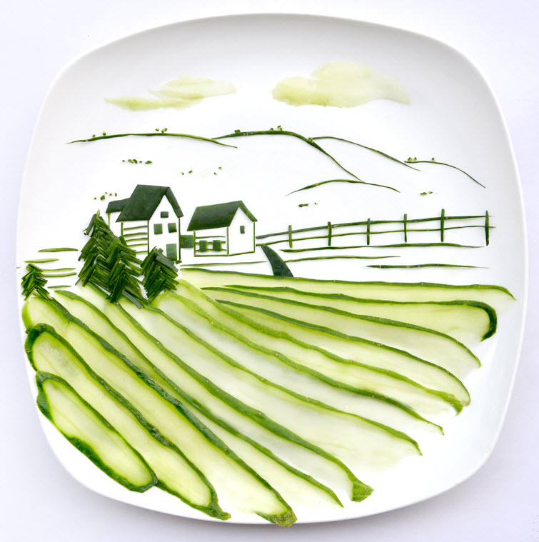 food cucumber Artist Red Hong Yi Uses Unusual Mediums Of Feathers, Food, Sticks, Socks, Coffee And Melted Candles