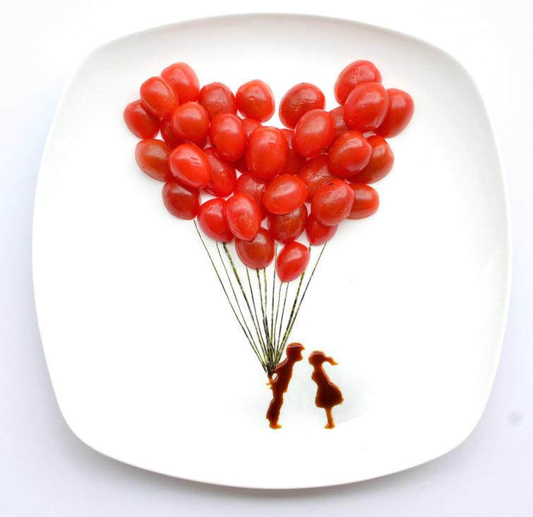 food tomato Artist Red Hong Yi Uses Unusual Mediums Of Feathers, Food, Sticks, Socks, Coffee And Melted Candles