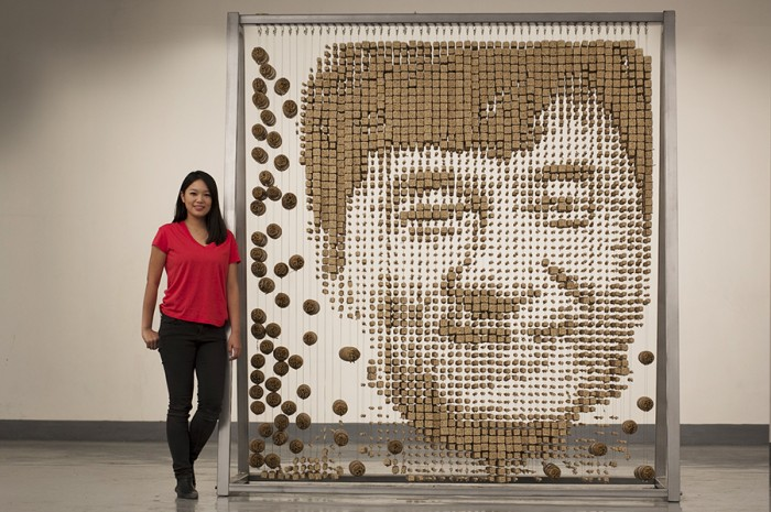 jackie chan Artist Red Hong Yi Uses Unusual Mediums Of Feathers, Food, Sticks, Socks, Coffee And Melted Candles 1