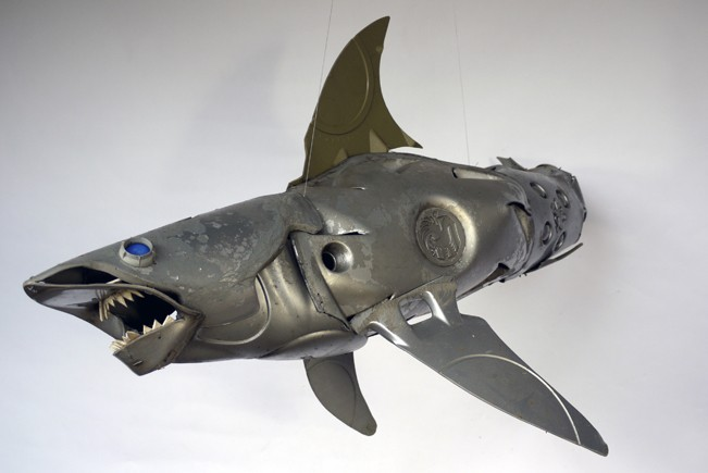 blue-eyed-shark Car Part Art - Old Recycled Hubcaps Into Awesome Sculptures