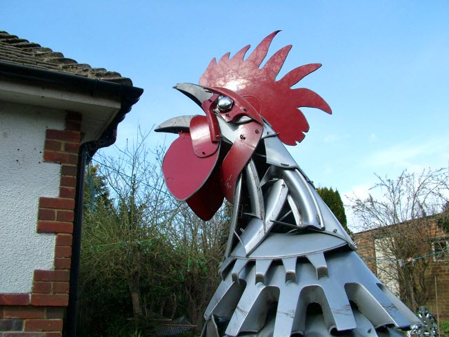 rooster Car Part Art - Old Recycled Hubcaps Into Awesome Sculptures